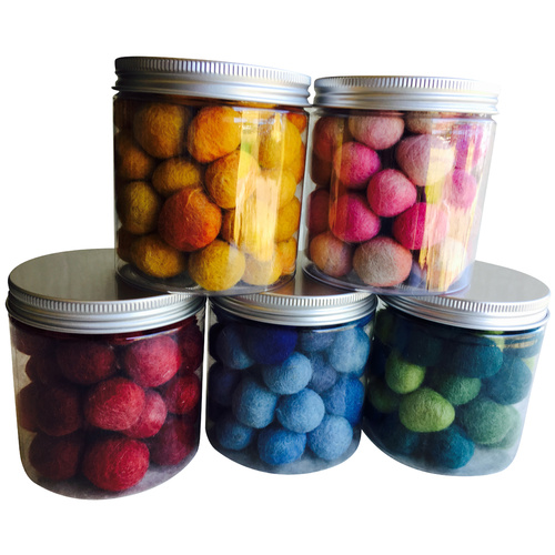 Felt Balls 2cm Rainbow Set Portable Play Jars