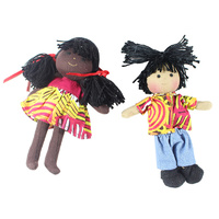 Aboriginal Boy & Girl Mini Dolls 16cm - Set of 2 Bush Melon Black