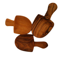 8cm Olive Wood Scoop 3 Set